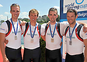 Belgrade, SERBIA. GBR LM4-, left tot right,  Peter CHAMBERS, Rob WILLIAMS, Richard CHAMBERS and Chris BARTLEY. 2012 FISA World Cup I   Sunday  06/05/2012   [Manatory Credit. Peter Spurrier/Intersport Images]