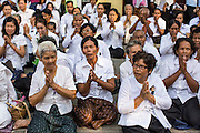 03 FEBRUARY 2013 - PHNOM PENH, CAMBODIA:  Cambodians gather on the sidewalk in front of the National Museum, site of King Norodom Sihanouk's crematorium, to honor their former King. Sihanouk ruled Cambodia from independence in 1953 until he was overthrown by a military coup in 1970. The only music being played publicly is classical Khmer music. Sihanouk died in Beijing, China, in October 2012 and will be cremated during a state funeral royal ceremony on Monday, Feb. 4.    PHOTO BY JACK KURTZ