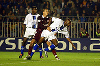 Photograph: Scott Heavey.<br />AC Sparta Prague v Chelsea. Group G Champions League match. 16/09/2003.<br />William Gallas watches his strike fly in for Chelsea's winner.