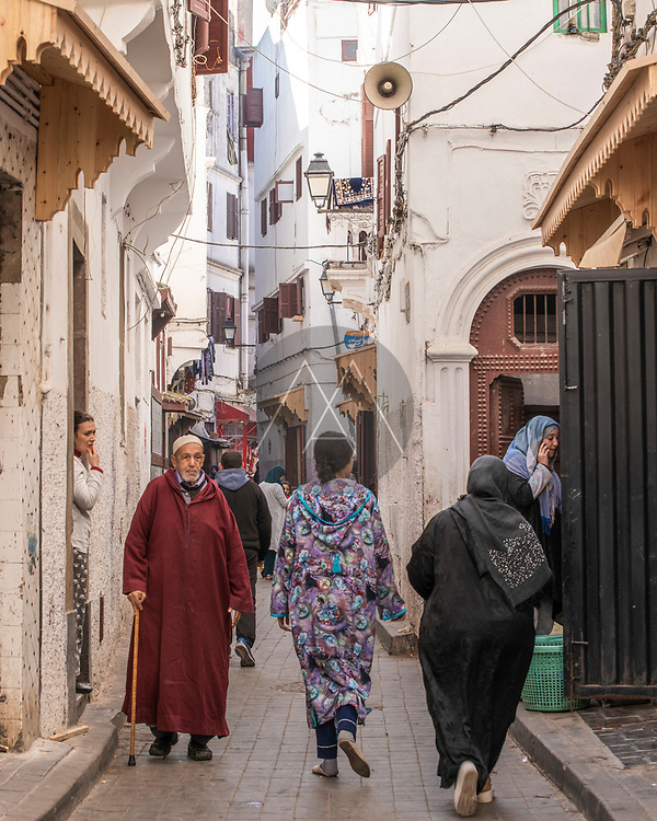 Casablanca, Morocco - 13 January 2019: View of people walking in Casablanca old town, Morocco.