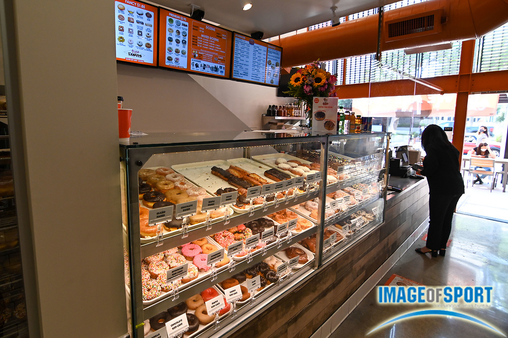 General overall view of Randy's Donuts selection during a store grand opening, Wednesday, Sept. 2, 2020, in Pasadena, Calif. (Dylan Stewart/Image of Sport)