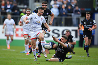 Rugby Union - 2019 / 2020 European Rugby Heineken Champions Cup - Pool Three: Bath vs. Ulster<br /> <br /> Ulster Rugby's John Cooney evades the tackle of Bath Rugby's Rhys Priestland to score his sides first try, at The Recreation Ground.<br /> <br /> COLORSPORT/ASHLEY WESTERN