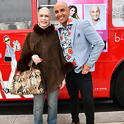 Lady Colin Campbell and Simon Gross attend Celeb Bri Tea, on board the BB Bakery bus on 22 March 2019, London, UK.