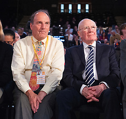 Liberal Democrats Autumn Conference in Brighton, East Sussex 18th September 2018 <br /> Final day <br /> <br /> Vince Cable MP <br /> Leader fo the Liberal Democrats <br /> Leaders' speech <br /> Watched by Simon Hughes and Menzies Campbell <br /> <br /> <br /> <br /> Photograph by Elliott Franks