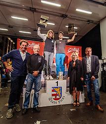 15.08.2016, Hauptplatz, Lienz, AUT, Free Solo Masters, im Bild Franz Theurl (TVB Osttirol-Obmann), Werner Frömel (TVB-Aufsichtsrat und Obmann AlpinPlattFormLienz), Bgm. Elisabeth Blanik, Martin Mayerl (Landtagsabgeordneter) und die beiden Sieger Karoline Sinnhuber (AUT) und Alban Levier (FRA) // during the Free Solo Masters at the Hauptplatz in Lienz, Austria on 2016/08/15. EXPA Pictures © 2016, PhotoCredit: EXPA/ JFK