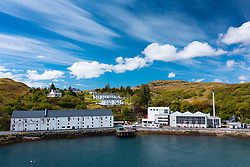 Aerial view from drone of Caol Ila scotch whisky distillery on Islay, Inner Hebrides , Scotland, UK