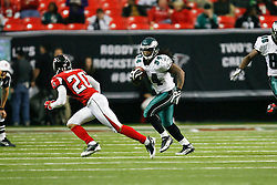 Philadelphia Eagles running back Eldra Buckley #34 carries the ball during the NFL game between the Philadelphia Eagles and the Atlanta Falcons on December 6th 2009. The Eagles won 34-7 at The Georgia Dome in Atlanta, Georgia. (Photo By Brian Garfinkel)