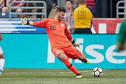 May 28, 2018 - Chester, PA, U.S. - CHESTER, PA - MAY 28: United States goalkeeper Alex Bono (22) shoots the ball during the international friendly match between the United States and Bolivia at the Talen Energy Stadium on May 28, 2018 in Chester, Pennsylvania. (Photo by Robin Alam/Icon Sportswire) (Credit Image: © Robin Alam/Icon SMI via ZUMA Press)