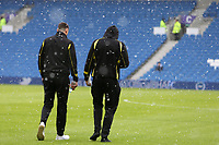 Football - 2016 / 2017 Sky Bet Championship - Brighton & Hove Albion vs. Burton Albion<br /> <br /> Two Burton players step out on to the pitch to view the weather conditions at the Amex Stadium Brighton<br /> <br /> COLORSPORT/SHAUN BOGGUST