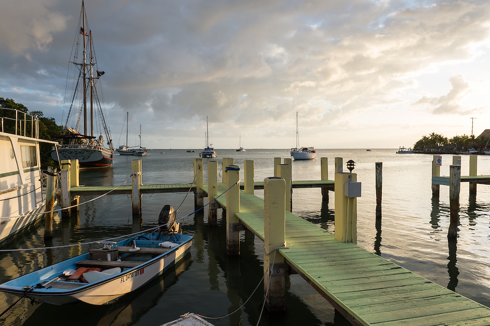 KEY LARGO, FL - CIRCA 2012: View of typical dock with boath in Key Largo circa 2012. The Florida Keys are a very popular tourist destination with over 2 million yearly visitors.