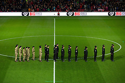 Soldiers march out onto the pitch - Rogan Thomson/JMP - 05/11/2016 - FOOTBALL - Ashton Gate Stadium - Bristol, England - Bristol City v Brighton & Hove Albion - Sky Bet Championship.