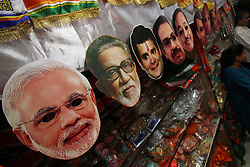 March 27, 2019 - Mumbai, India - Face masks of Indian political leaders are seen at a shop, ahead of the forthcoming Lok Sabha election or General Election in Mumbai, India on 27 March 2019. (Credit Image: © Himanshu Bhatt/NurPhoto via ZUMA Press)