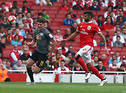 July 30, 2017 - London, England, United Kingdom - Lisandro of Benfica holds of Oliver Burke of RB Leipzig.during Emirates Cup match between RB Leipzig  against Benfica  at The Emirates Stadium in north London on July 30, 2017, the game is one of four matches played over two days for the Emirates Cup. (Credit Image: © Kieran Galvin/NurPhoto via ZUMA Press)