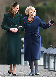 The Duke and Duchess of Cambridge meet the President of Ireland, Michael D. Higgins, at Áras an Uachtaráin, on the first day of their 3 day visit to Ireland, in Dublin, Ireland, on the 3rd March 2020. 03 Mar 2020 Pictured: Catherine, Duchess of Cambridge, Kate Middleton, Sabine Coyne. Photo credit: James Whatling / MEGA TheMegaAgency.com +1 888 505 6342