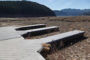 USA, Oregon, Detroit Lake State Recreation Area, boat dock high and dry at Detroit Lake during the drought of 2015.