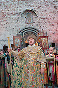"""Vyborg, Russia, 27/06/2002..The mid-summer White Nights period when the sun sets only briefly is a time of festivals &  entertainment. The Kirov Opera presents a new production of Mussorgsky's """"Boris Godunov"""" in Vyborg Castle courtyard.."""