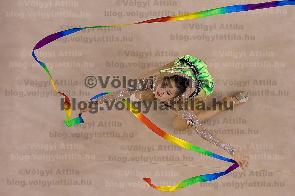 Aliya Garayeva (AZE) performs with the ribbon during the final of the 2nd Garantiqa Rythmic Gymnastics World Cup held in Debrecen, Hungary. Sunday, 07. March 2010. ATTILA VOLGYI