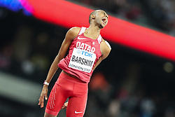 London, August 13 2017 . Mutaz Essa Barshim, Qatar,  celebrates winning gold in the men's high jump final on day ten of the IAAF London 2017 world Championships at the London Stadium. © Paul Davey.