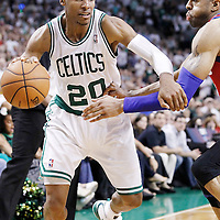 26 May 2012: Boston Celtics shooting guard Ray Allen (20) drives past Philadelphia Sixers small forward Andre Iguodala (9) during the Boston Celtics 85-75 victory over the Philadelphia Sixer, in Game 7 of the Eastern Conference semifinals playoff series, at the TD Banknorth Garden, Boston, Massachusetts, USA.