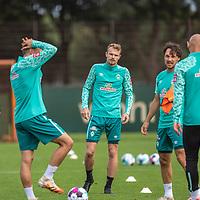 10.09.2020, Trainingsgelaende am wohninvest WESERSTADION - Platz 12, Bremen, GER, 1.FBL, Werder Bremen Training<br /> <br /> <br /> Christian Groß / Gross (Werder Bremen #36)<br /> Simon Straudi (Werder Bremen #26)<br /> Maximilian Eggestein (Werder Bremen #35)<br /> Ömer / Oemer Toprak (Werder Bremen #21)<br /> <br /> <br /> Foto © nordphoto / Kokenge
