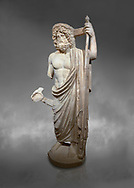 Roman statue of Asclepius. Marble. Perge. 2nd century AD. Inv no .Antalya Archaeology Museum; Turkey.  Against a grey background<br /> <br /> Asclepius was a hero and god of medicine in ancient Greek religion and mythology. Asclepius represents the healing aspect of the medical arts, one of his his daughters is Hygieia .<br /> <br /> If you prefer to buy from our ALAMY STOCK LIBRARY page at https://www.alamy.com/portfolio/paul-williams-funkystock/greco-roman-sculptures.html . Type -    Antalya     - into LOWER SEARCH WITHIN GALLERY box - Refine search by adding a subject, place, background colour, museum etc.<br /> <br /> Visit our ROMAN WORLD PHOTO COLLECTIONS for more photos to download or buy as wall art prints https://funkystock.photoshelter.com/gallery-collection/The-Romans-Art-Artefacts-Antiquities-Historic-Sites-Pictures-Images/C0000r2uLJJo9_s0
