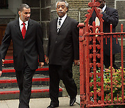 l to r: Governor David Patterson and Rev. Al Sharpton at the funeral for NYPD Officer Omar Edwards held at Our Lady of Victory in Brooklyn on June 4, 2009..NYPD Officer Omar Edwards posthumusly promoted to the rank of Detective was killed by NYPD Detective Andrew Dunton in a case of friendly fire, when Edwards was takened for a suspect with gun in hand. On Thursday June 4 2009, Officer Omar J. Edwards, 25, was shot by a fellow officer on a Harlem street while in street clothes. He had just finished his shift, and had his service weapon out, chasing a man who had broken into his car, police said. Three plainclothes officers on routine patrol arrived at the scene and yelled for the two to stop, police said. One officer, Andrew Dunton, opened fire and hit Edwards three times as he turned toward them with his service weapon. It wasn't until medical workers were on scene that it was determined he was a police officer.