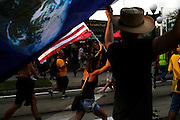 Protesters march through the streets of Ybor City during the 2012 Republican National Convention on August 28, 2012.