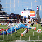 New York Red Bulls goalkeeper Luis Robles can't stop a shot from Charlie Davies, New England Revolution, for his sides first goal during the New England Revolution Vs New York Red Bulls, MLS Eastern Conference Final, second leg. Gillette Stadium, Foxborough, Massachusetts, USA. 29th November 2014. Photo Tim Clayton