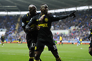 Wigan's Maynor Figueroa (31) celebrates  with teammate Emmerson Boyce (l) after he scores the 3rd goal .  Barclays Premier league, Reading v Wigan Athletic at the Madejski Stadium in Reading on Saturday 23rd Feb 2013. pic by Andrew Orchard, Andrew Orchard sports photography,