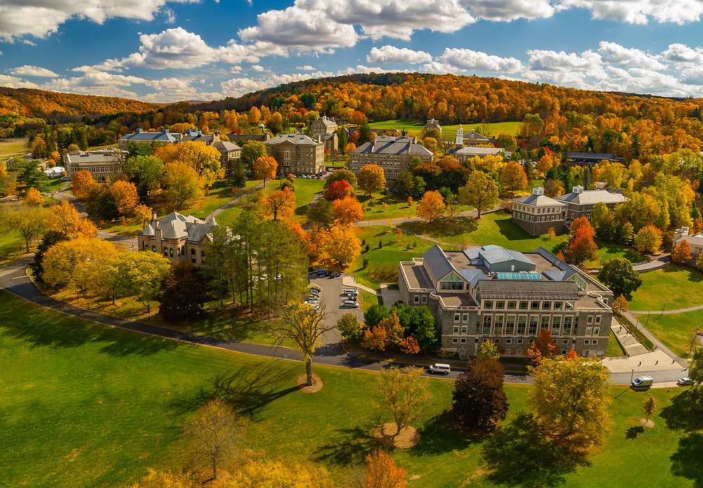 Colgate University is pictured with fall foliage October 14, 2020.