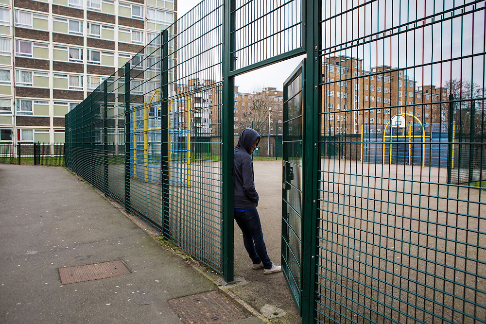 A vulnerable teenage youth in a pay area on a Hackney estate, London. UK
