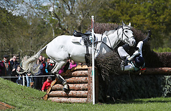 Kitty King is a faller on Vendredi Biats during day four of the 2019 Mitsubishi Motors Badminton Horse Trials at The Badminton Estate, Gloucestershire.