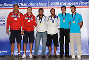 Marathon, GREECE, Men's pairs, presentation  for the 2008  FISA European Rowing Championships, at the Club Med. 20/09/2008  [Mandatory Credit Peter Spurrier/ Intersport Images] , Rowing Course; Lake Schinias Olympic Rowing Course. GREECE