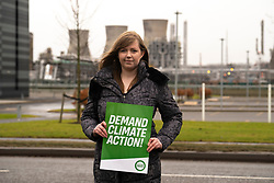 Grangemouth, Scotland, UK. 7th December 2019. Scottish Greens co-leader Patrick Harvie joined Linlithgow and East Falkirk candidate Gillian Mackay for a demonstration outside INEOS offices in Grangemouth. The refinery operated there by INEOS is Scotland's biggest polluter according to the Greens. The Scottish Greens are calling for the end of shale gas imports, which bring fracked gas from the US to Grangemouth. Pictured, Gillian Mackay.<br /> Iain Masterton/Alamy Live News