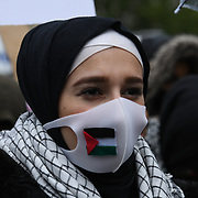 London, 15. May.2021. Pro Palestinian demonstration protesters march from Marble Arch to the Israeli Embassy in London as the conflict escalates between Israel and Palestinian.