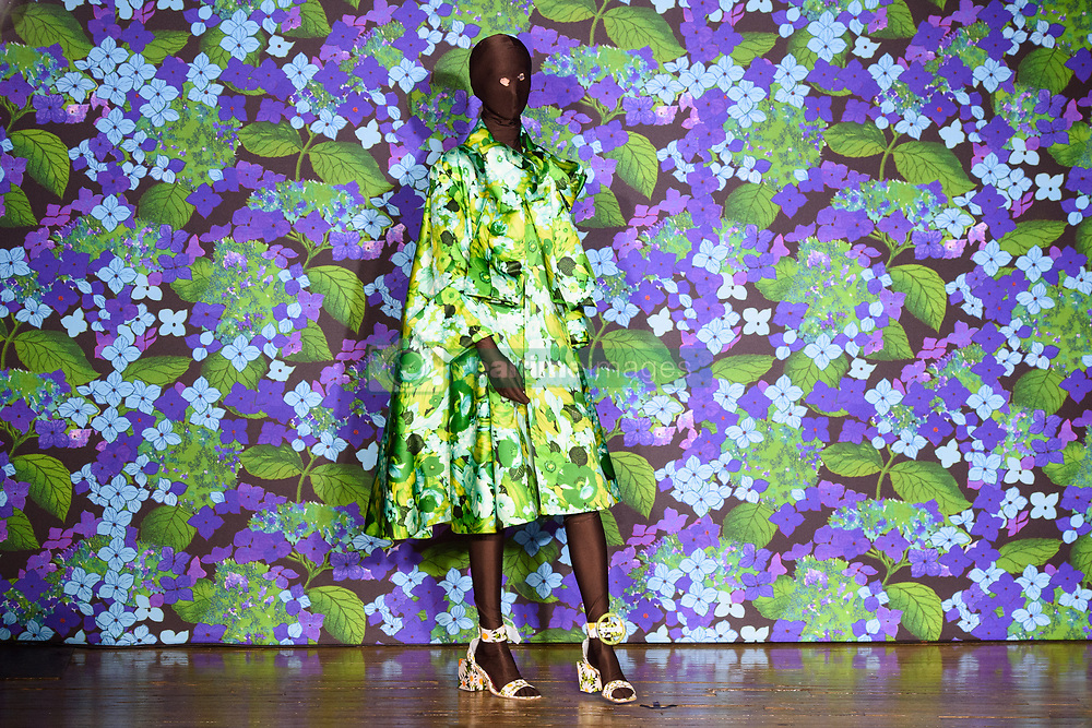 A model on the catwalk during the Richard Quinn London Fashion Week SS18 show held at Liberty, London. Picture date: Saturday September 16th, 2017. Photo credit should read: Matt Crossick/ EMPICS Entertainment.