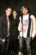 l to r: Donnie Klang, Jeselene Gonzalez and DJ Cipha Sounds at the South Pole Fashion show during ' The Stay in School Concert ' facilated by Entertainers for Education held at The Manhattan Center on October 28, 2008 in New York City