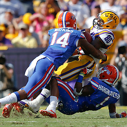 Oct 12, 2013; Baton Rouge, LA, USA; LSU Tigers wide receiver Jarvis Landry (80) is tackled by Florida Gators defensive back Jaylen Watkins (14) and Florida Gators defensive back Vernon Hargreaves III (1) during the first half of a game at Tiger Stadium. Mandatory Credit: Derick E. Hingle-USA TODAY Sports
