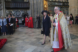 Penelope Keith in Westminister Abbey, London ahead of Service of Thanksgiving for the Life and Work of the Ronnie Corbett who died last year.