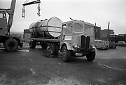 10/10/1966<br /> 10/10/1966<br /> 10 October 1966<br /> Scene of fatal accident at Roche shipping, Alexandra Road, North Wall, Dublin. AEC truck beside crane.