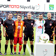 Referee's Mustafa Kamil Abitoglu (C) during their Turkish Super League soccer match Caykur Rizespor between Galatasaray at the Yeni Rize Sehir stadium in Rize Turkey on Saturday, 30 May 2015. Photo by TVPN/TURKPIX