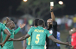 17032018 (Durban) Limbikani Mzava of Arrows recieving a redcard when Orlando Pirates walloped Golden Arrows 2-1 at the ABSA premier league encounter at Princess Magogo Staduim, in Kwa-Mashu, Durban. Pirates has advance their league position to number 2 with 41 points after Sundowns with 42 points lead.<br /> Picture: Motshwari Mofokeng/African New Agency/ANA