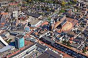 Nederland, Groningen, Gemeente Oldambt,  01-05-2013; centrum Winschoten met links winkelcentrum 't Rond aan Vissersdijk en Israelplein, recht Marktplein met Grote Kerk (Marktpleinkerk), de toren 'Olle Witte'.<br /> Small provincial town, marketplace, regional centre (northeast Holland).<br /> luchtfoto (toeslag op standard tarieven);<br /> aerial photo (additional fee required);<br /> copyright foto/photo Siebe Swart.