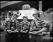 National Farm Tasks Competition Final  (K25).1976..07.05.1976..05.07.1976..7th May 1976..The final of the National Farm Tasks Competition were held in the R.D.S.(Royal Dublin Showgrounds, Dublin) The competition was sponsored by Irish Shell Ltd. Over 400 teams originally took part in the competition. The overall winners were the Tullyallen,Co Louth branch of Macra na Ferime..The victorious Tullyallen Team,Pat Winters, George O'Brien and Gerry Healy are pictured displaying their trophies after they were declared the winners of the competition.