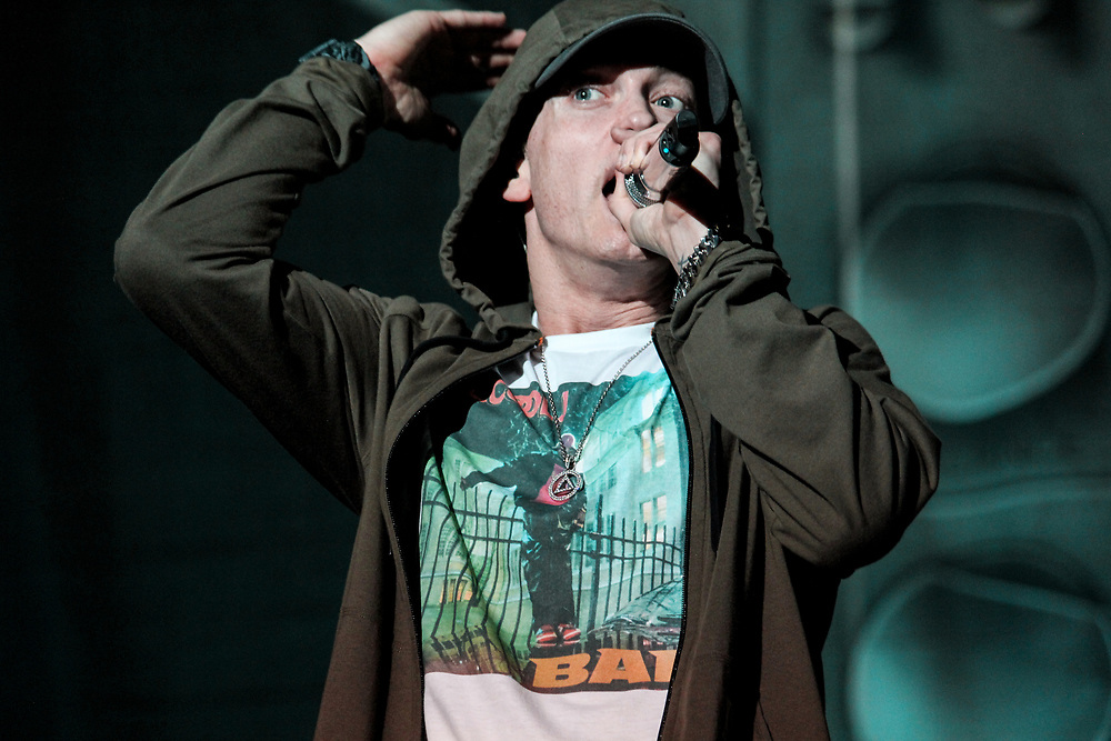Eminem performs at Lollapalooza in Chicago, IL on August 1, 2014.