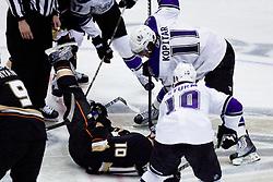 Anze Kopitar (Los Angeles Kings, #11) vs Corey Perry (Anaheim Ducks, #10) during ice-hockey match between Anaheim Ducks and Los Angeles Kings in NHL league, Februar 23, 2011 at Honda Center, Anaheim, USA. (Photo By Matic Klansek Velej / Sportida.com)