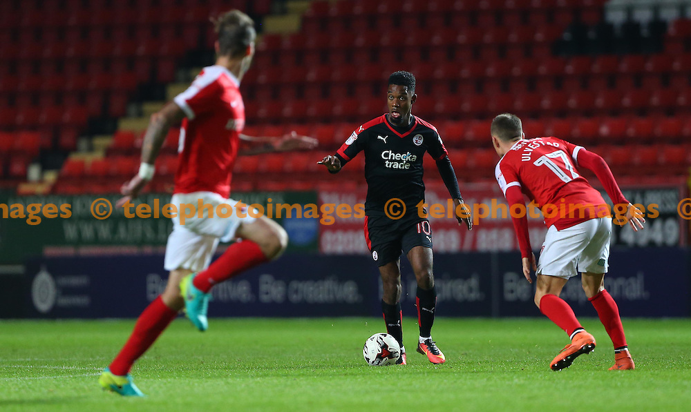 Crawley's Jason Banton pushes forward during the Checkatrade Trophy match between Charlton Athletic and Crawley Town at The Valley in London. October 4, 2016.<br /> James Boardman / Telephoto Images<br /> +44 7967 642437