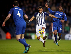 West Bromwich Albion's Matt Phillips and Everton's Cuco Martina (right) battle for the ball during the Premier League match at The Hawthorns, West Bromwich.