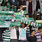 Bursaspor's Supporters during their Turkish soccer super league match Bursaspor between Fenerbahce at Ataturk Stadium in Bursa Turkey on Saturday, 20 October 2012. Photo by TURKPIX