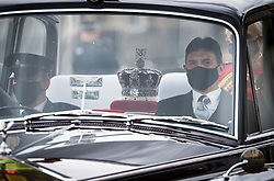 © Licensed to London News Pictures. 11/05/2021. London, UK. the Imperial State Crown travels through Westminster ahead of The State Opening of Parliament at the Houses of Parliament. Photo credit: Ben Cawthra/LNP